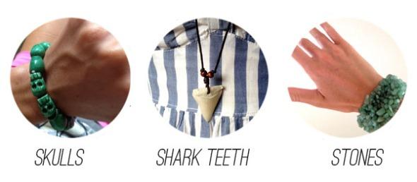 skulls, shark teeth, stones